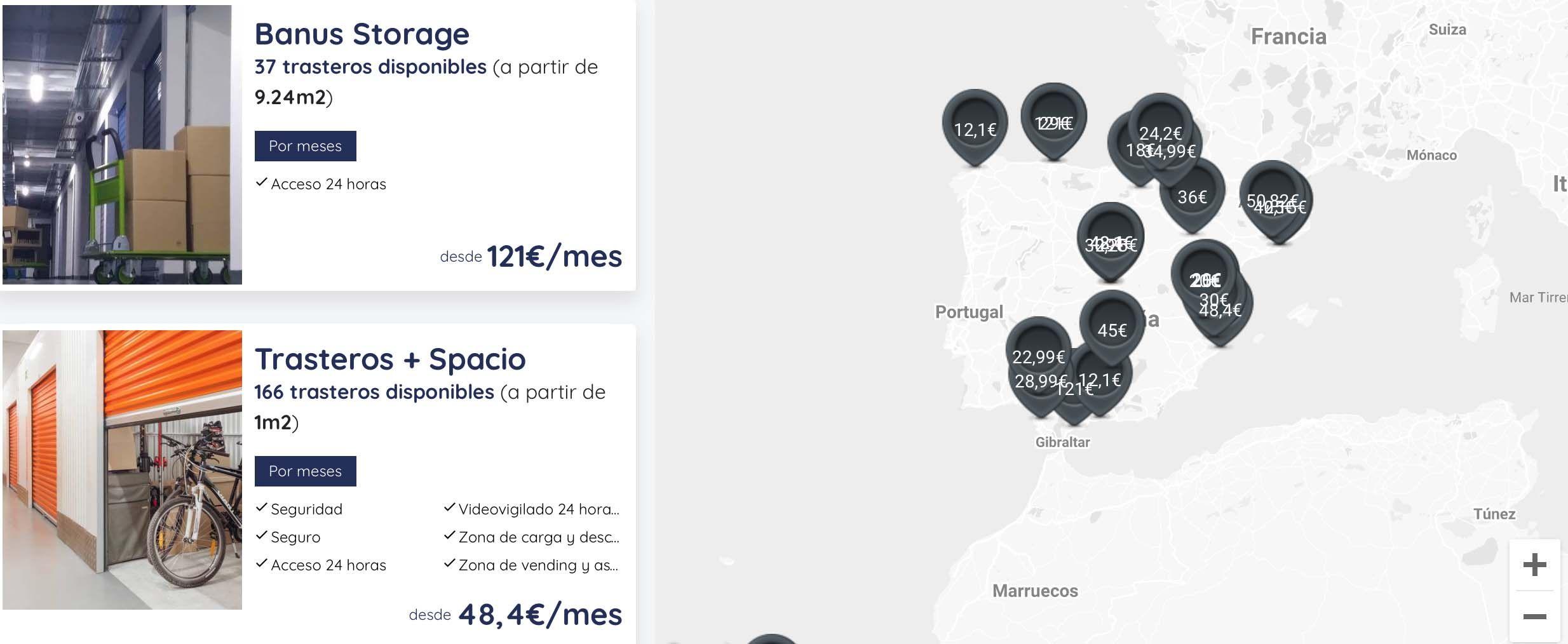 mapa precios trasteros alquiler